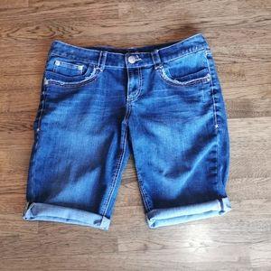 Seven7 Distressed Faded Denim Bermuda Shorts 14